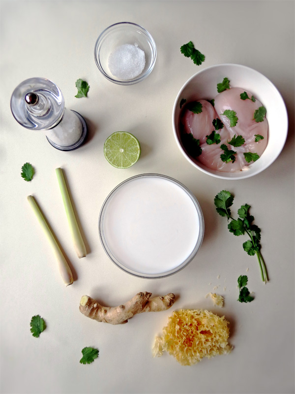Ingredients of Tom Kha Gai