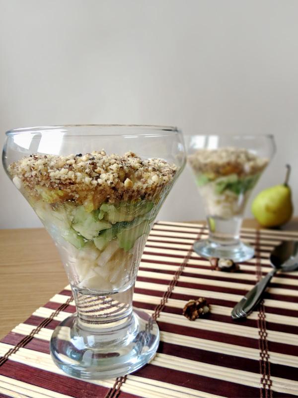 Layered Chicken, Pear and Avocado Salad