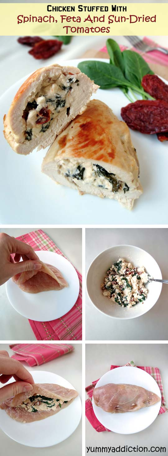 Chicken Stuffed With Spinach, Feta And Sun-Dried Tomatoes   YummyAddiction.com