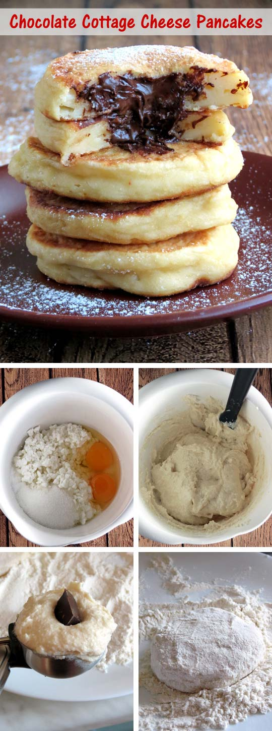 These cottage cheese pancakes have a yummy crispy fried shell on the outside, and creamy, soft and chocolate texture on the inside.