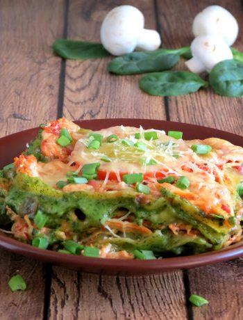 Cheesy Chicken Spinach Mushroom Lasagna