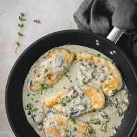 Chicken Scallopini With Mushrooms and Parmesan cheese