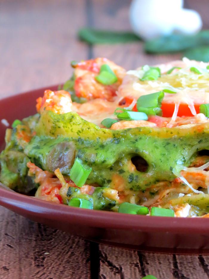Freaking Delicious Chicken Spinach Mushroom Lasagna | YummyAddiction.com