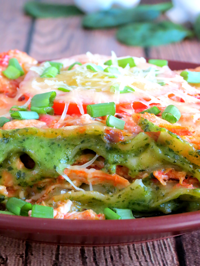 Green Chicken Spinach Mushroom Lasagna | YummyAddiction.com