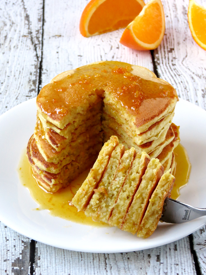 Orange Ricotta Pancakes With Homemade Syrup | YummyAddiction.com