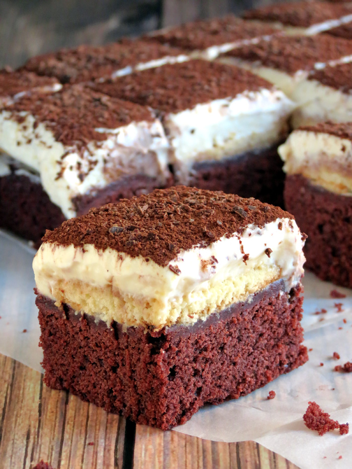Red Velvet Tiramisu Brownies | YummyAddiction.com