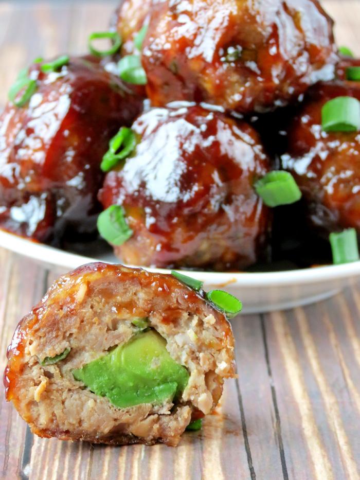 Avocado Stuffed Pork And Beef Meatballs | YummyAddiction.com