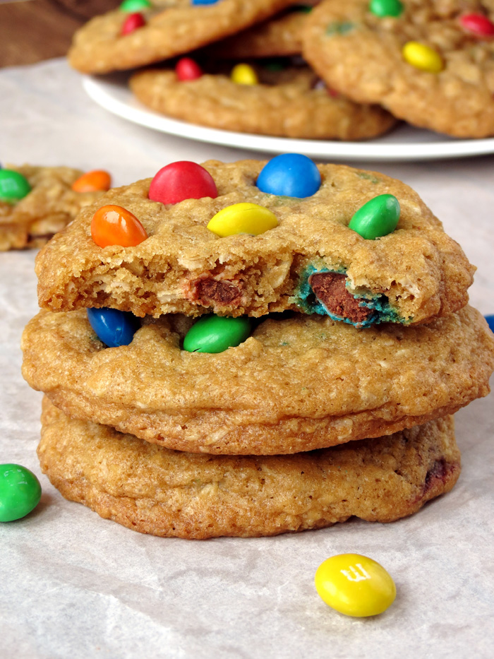 Chewy Coconut M&M Oatmeal Cookies | YummyAddiction.com