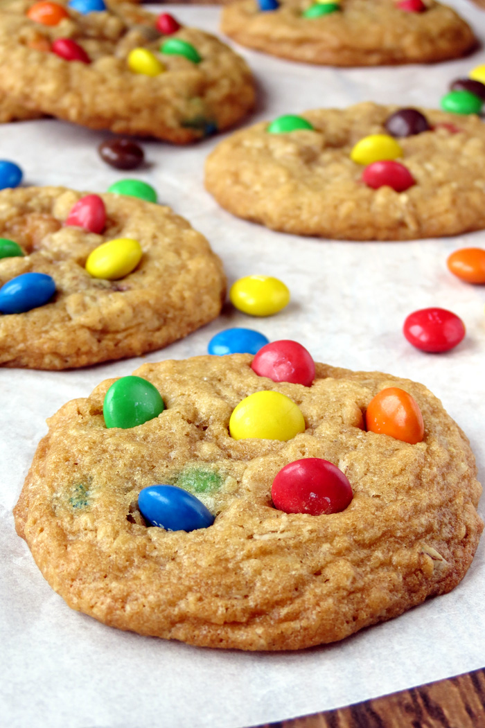 Coconut Oil Oatmeal Cookies with M&M's | YummyAddiction.com