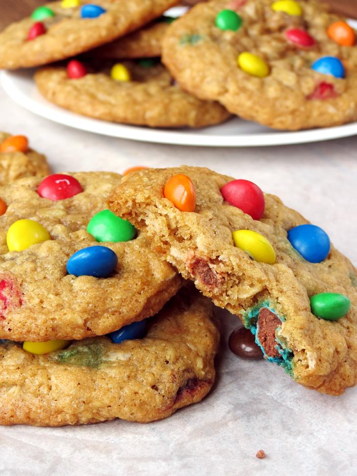 Coconut Oil Oatmeal M&M Cookies | YummyAddiction.com