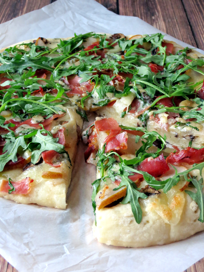 Pear, Prosciutto and Arugula Pizza | YummyAddiction.com
