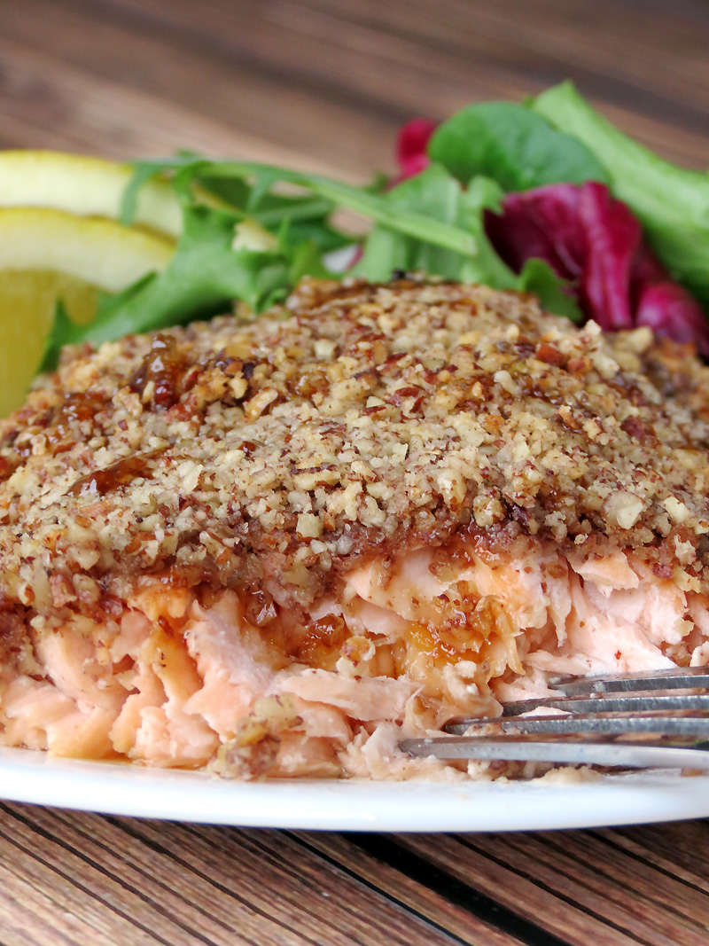 Bourbon Salmon With a Crunchy Pecan Crust | YummyAddiction.com