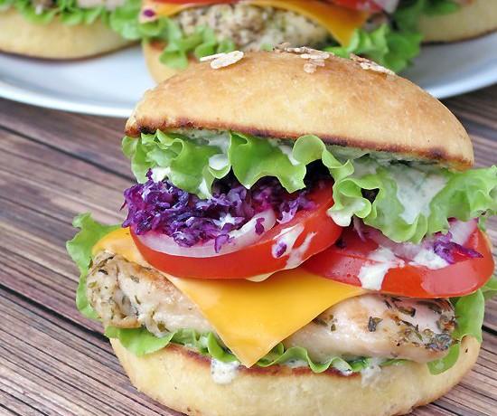 Chicken Burgers With Yogurt Pesto Sauce