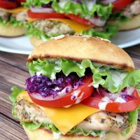 Chicken Burgers With Yogurt Pesto Sauce