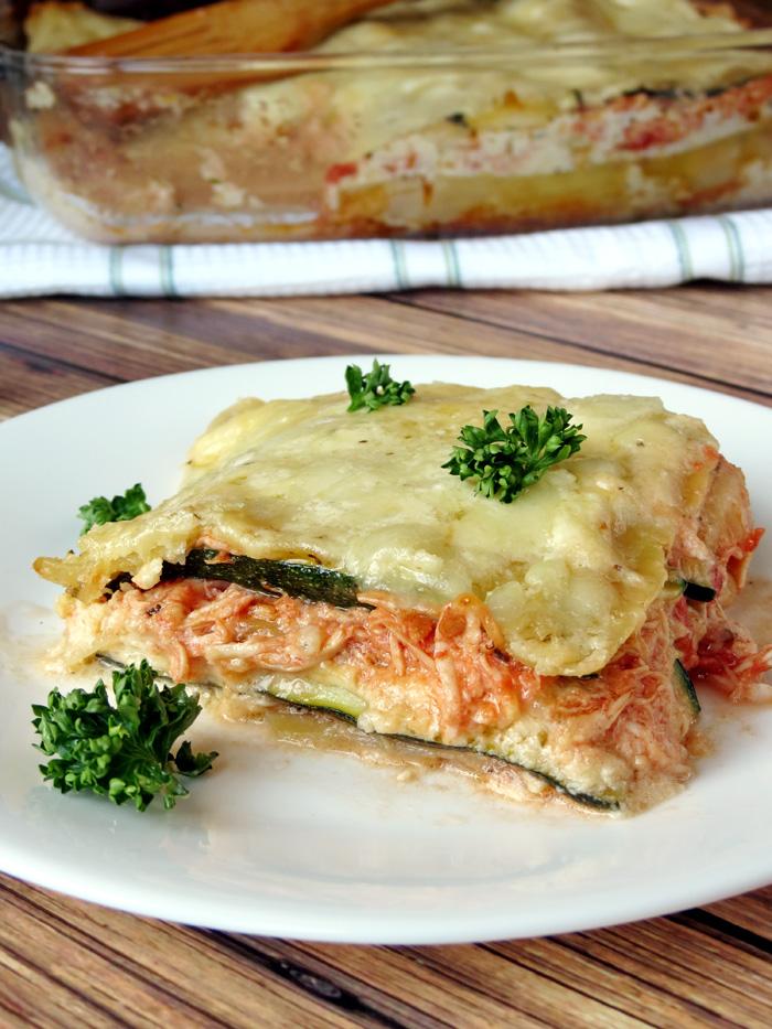 Chicken and Zucchini Alfredo Lasagna | YummyAddiction.com