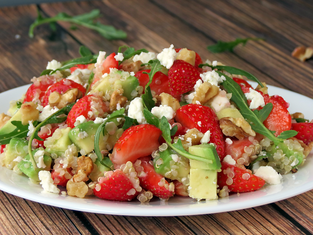 Avocado Strawberry Quinoa Salad | YummyAddiction.com
