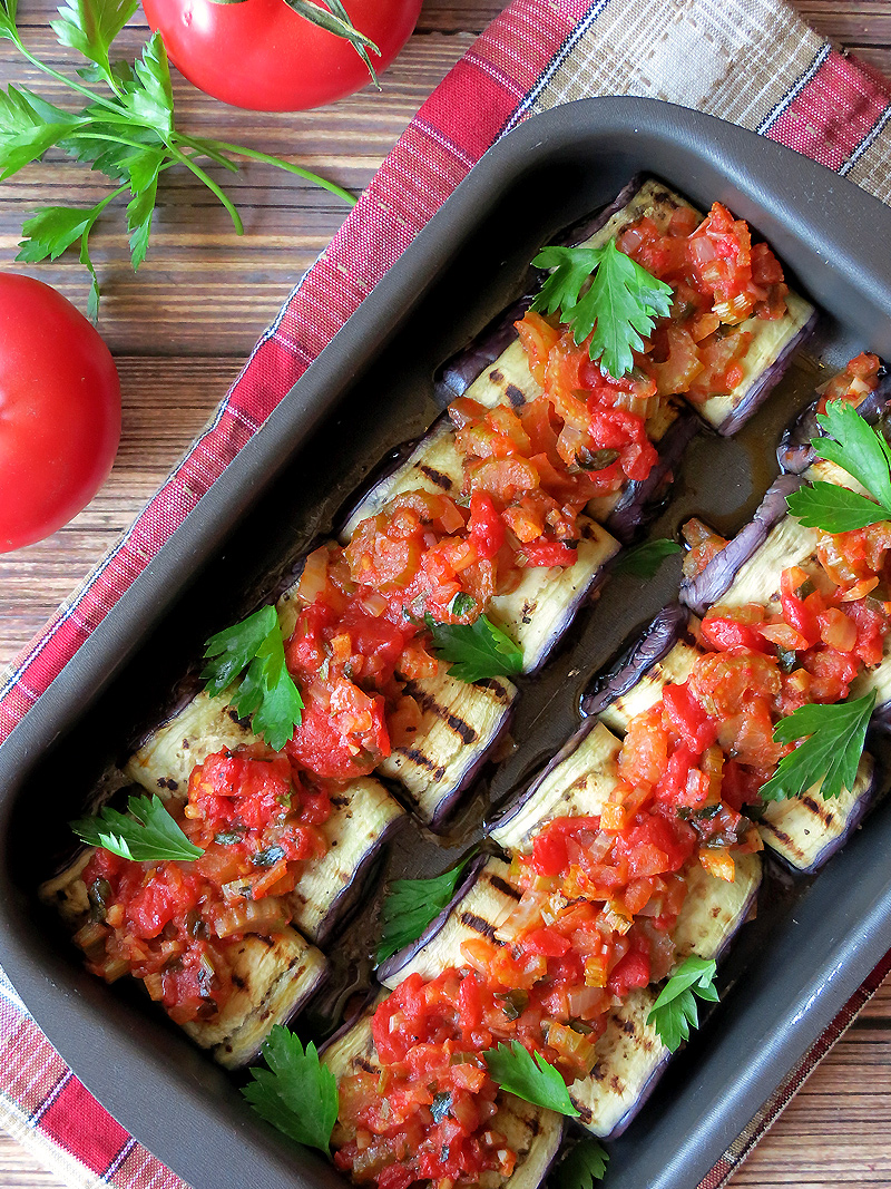 Easy And Delicious Eggplant Rollatini Stuffed With Vegetables | YummyAddiction.com
