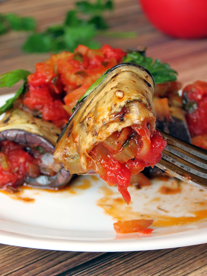 Eggplant Rollatini Stuffed With Vegetables | YummyAddiction.com