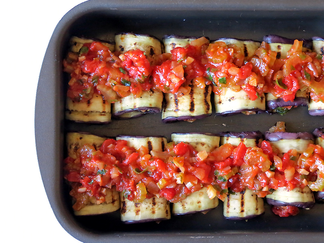 Healthy Vegetable Stuffed Eggplant Rollatini | YummyAddiction.com