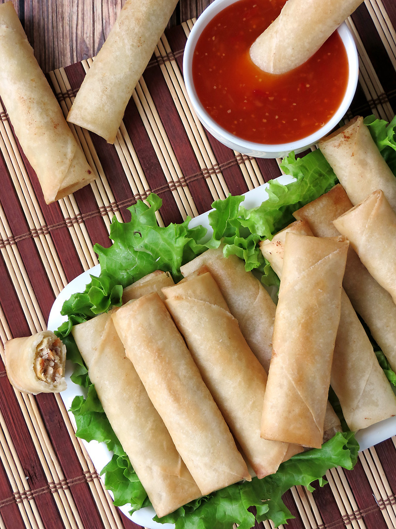Lumpia is an easy and delicious appetizer for dinner parties or just a snack. | YummyAddiction.com