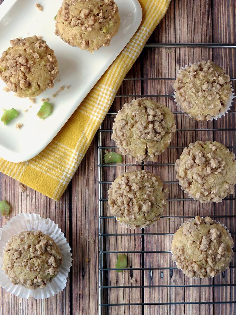 Rhubarb Cheesecake Streusel Muffins | YummyAddiction.com