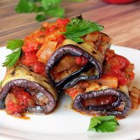 Vegetable Stuffed Eggplant Rollatini