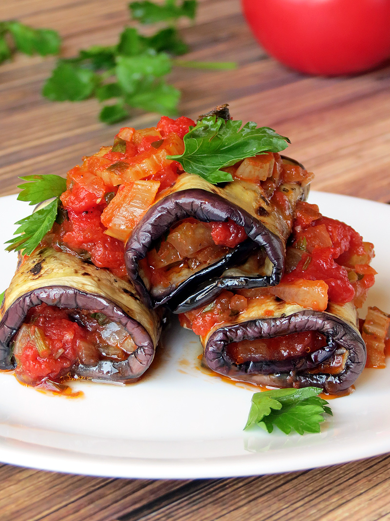 Vegetable Stuffed Eggplant Rollatini | YummyAddiction.com