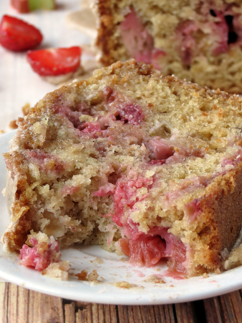 Rhubarb Strawberry Bread With Maple Cinnamon Glaze | YummyAddiction.com