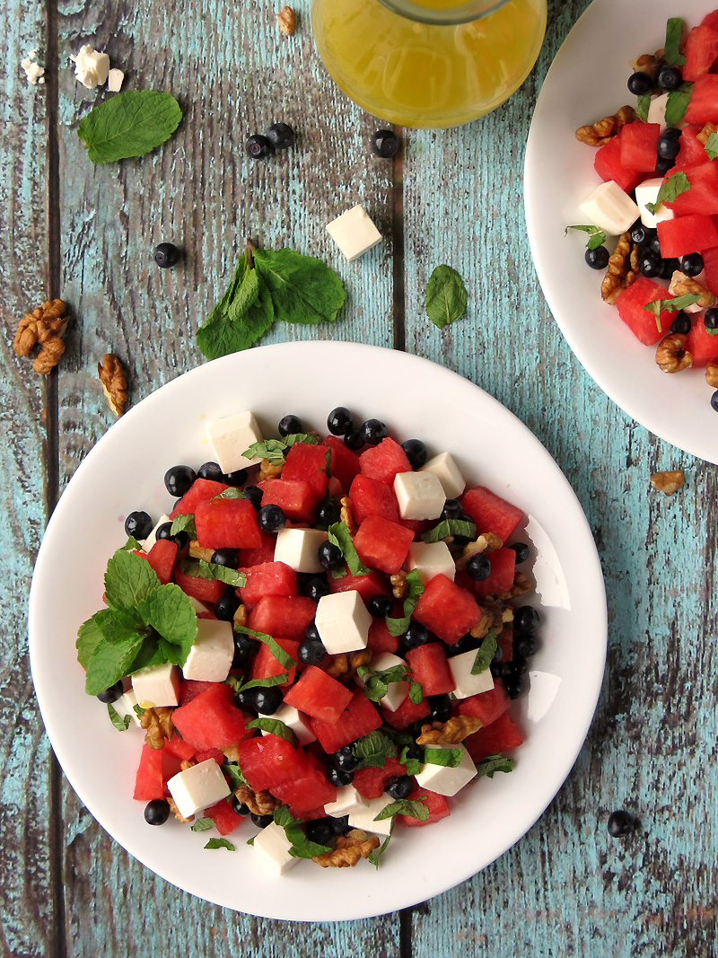 Blueberry Watermelon Feta Salad With Lemon Vinaigrette | YummyAddiction.com