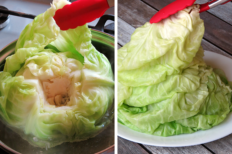 How to Remove Cabbage Leaves for Making Cabbage Rolls | YummyAddiction.com