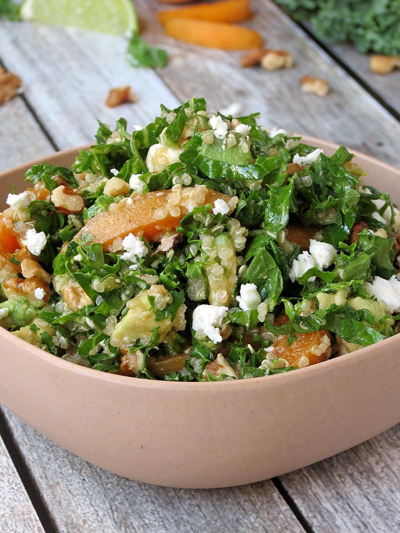 Kale, Quinoa & Apricot Salad | YummyAddiction.com