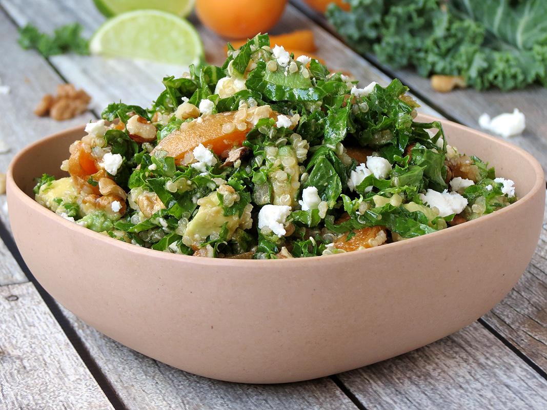 Kale Quinoa Salad With Fresh Apricots | YummyAddiction.com
