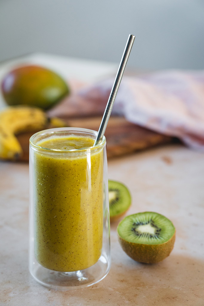 Kiwi Smoothie With Banana And Mango