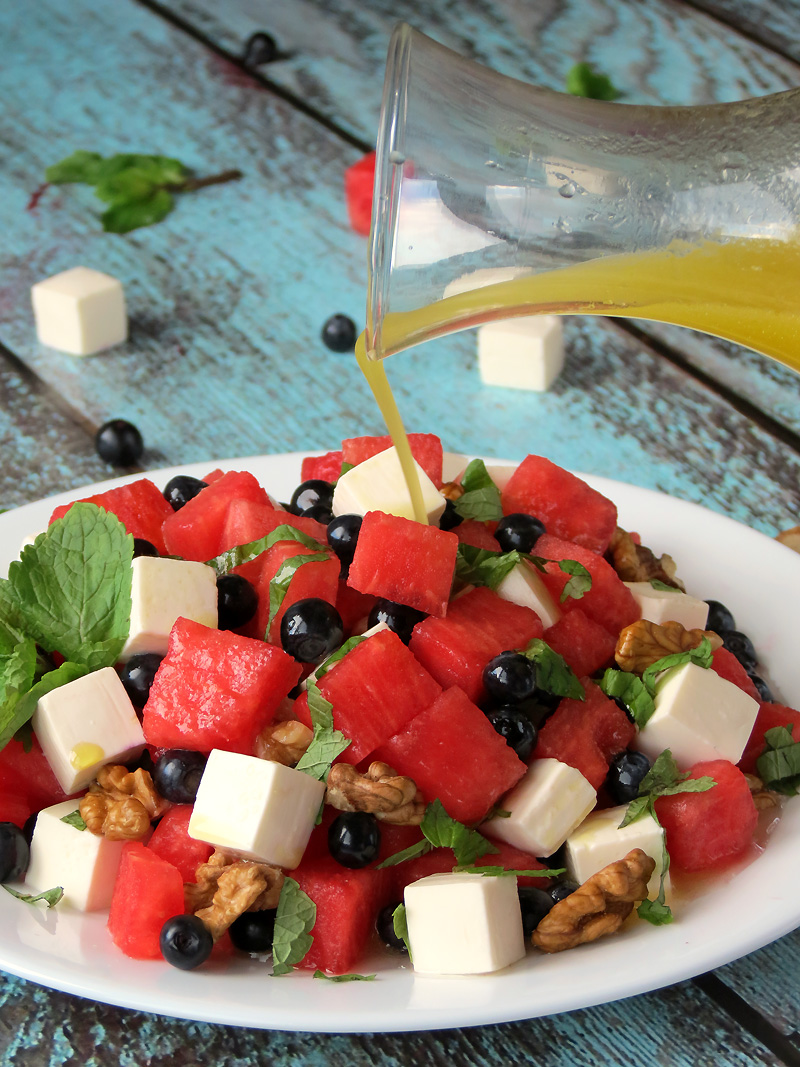 Watermelon Blueberry Feta Salad | YummyAddiction.com