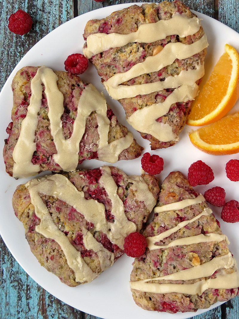 White Chocolate Raspberry Scones With Orange Glaze | YummyAddiction.com