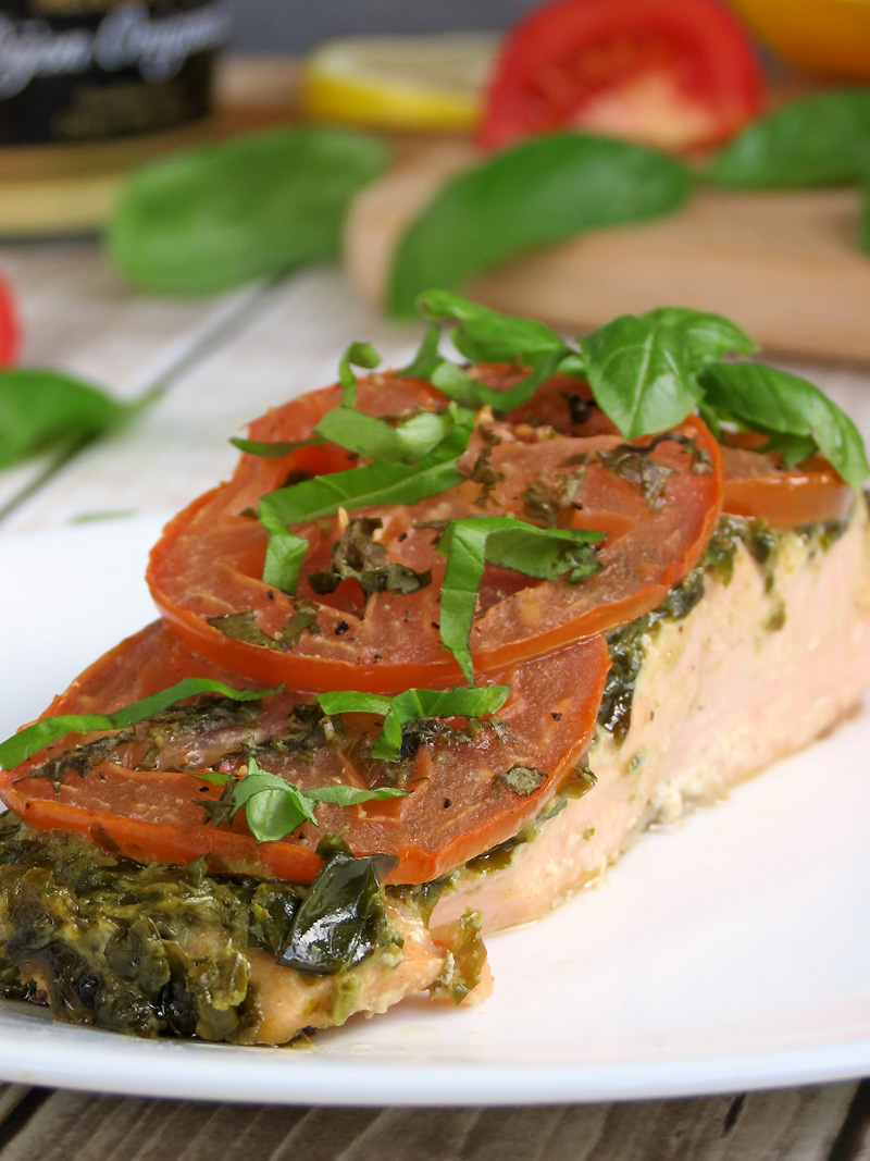 Baked Salmon with Pesto and Tomatoes | YummyAddiction.com