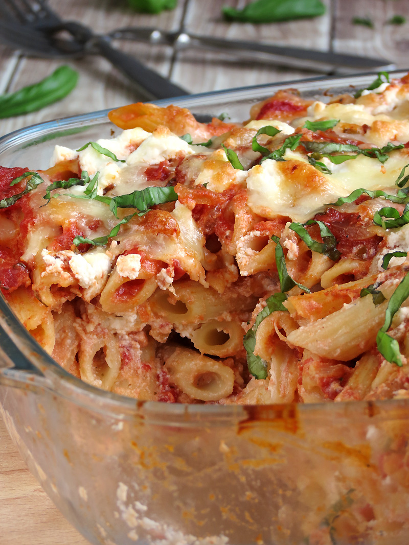 Baked Ziti with Three Cheeses | YummyAddiction.com