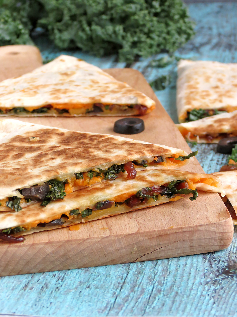 Kale And Sweet Potato Quesadillas | YummyAddiction.com