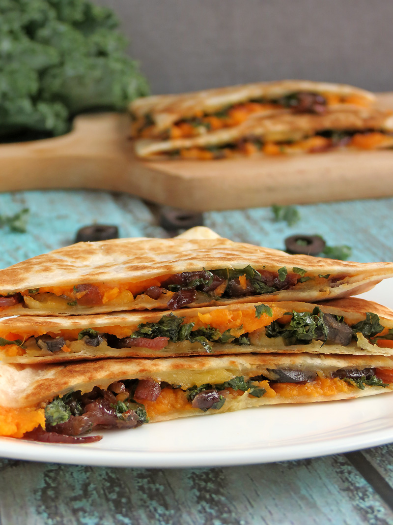 Kale & Sweet Potato Quesadillas | YummyAddiction.com