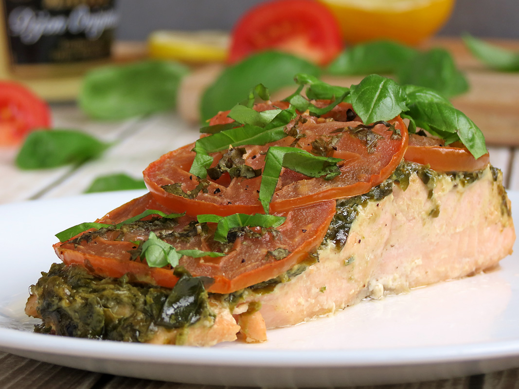 Pesto Baked Salmon | YummyAddiction.com