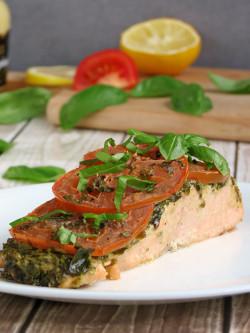 Pesto Salmon With Tomatoes
