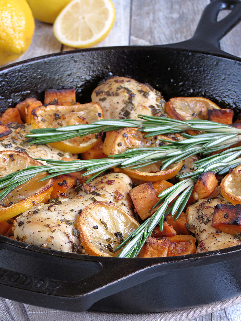 Rosemary Lemon Baked Chicken Breasts With Sweet Potatoes | YummyAddiction.com