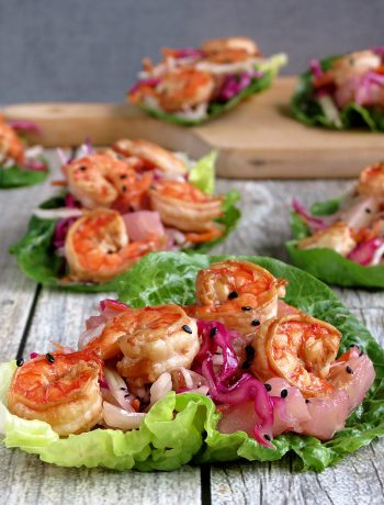 Shrimp Lettuce Wraps With Pineapple Coleslaw