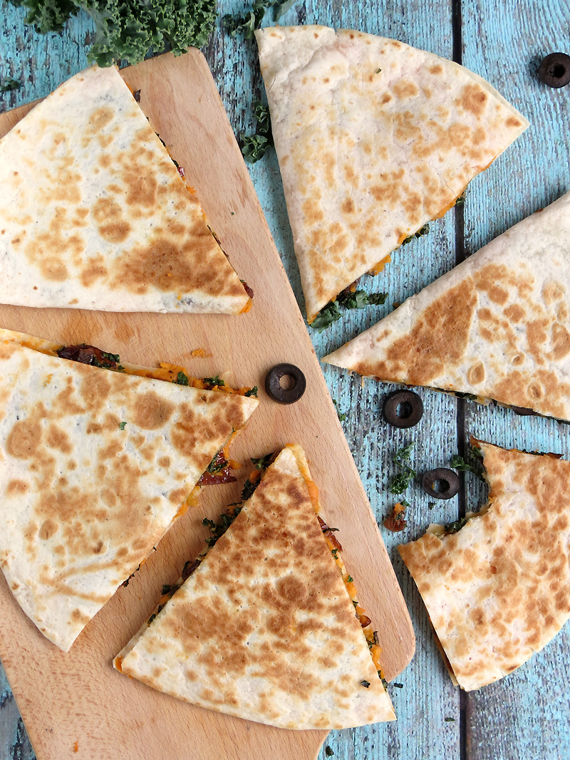 Sweet Potato & Kale Quesadillas   YummyAddiction.com