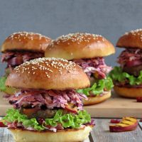 Turkey Burgers With Cranberry Coleslaw And Grilled Nectarines