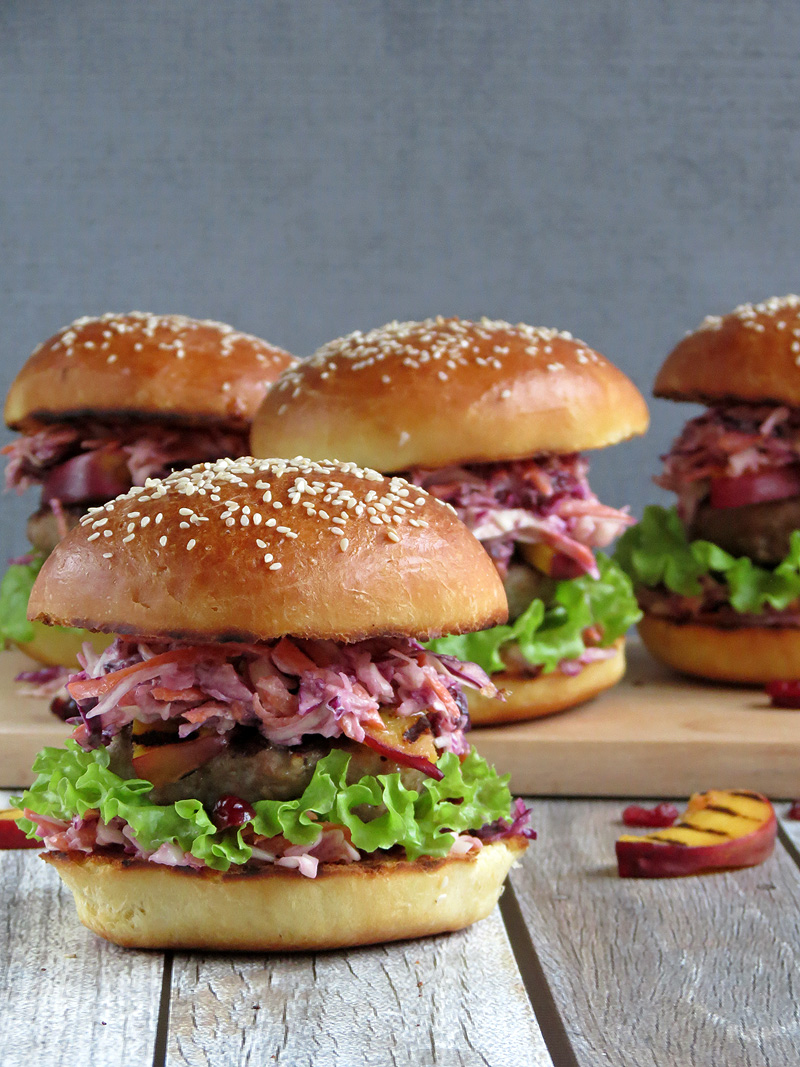 Turkey Burgers With Cranberry Coleslaw And Grilled Nectarines | YummyAddiction.com