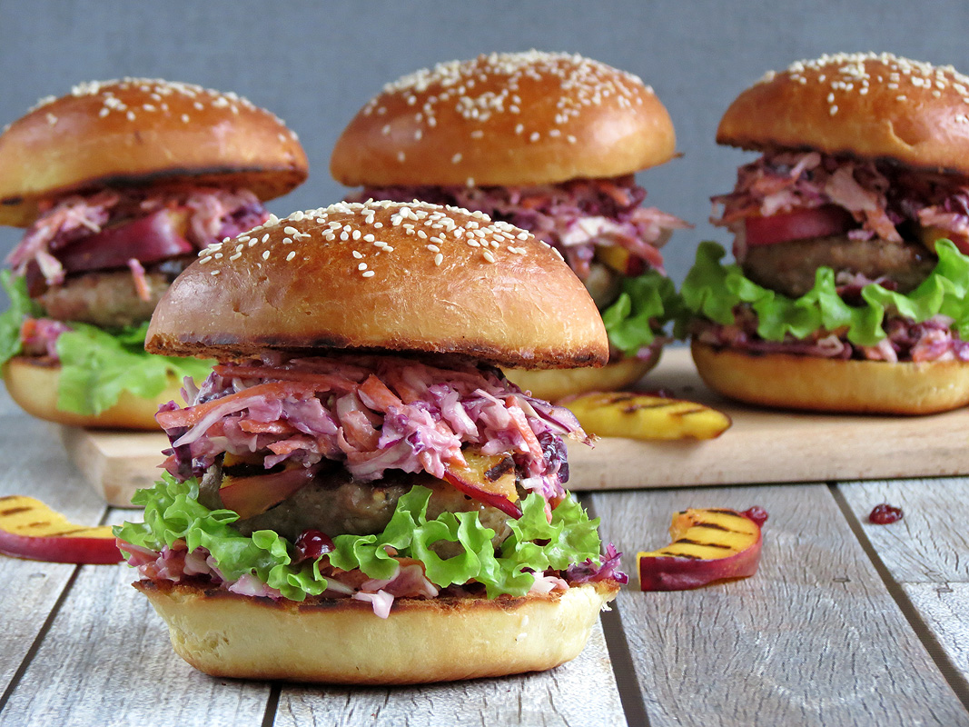 Turkey Burgers With Cranberry Coleslaw And Nectarines | YummyAddiction.com