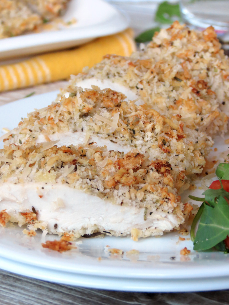 Baked Panko & Parmesan Crusted Chicken Breasts