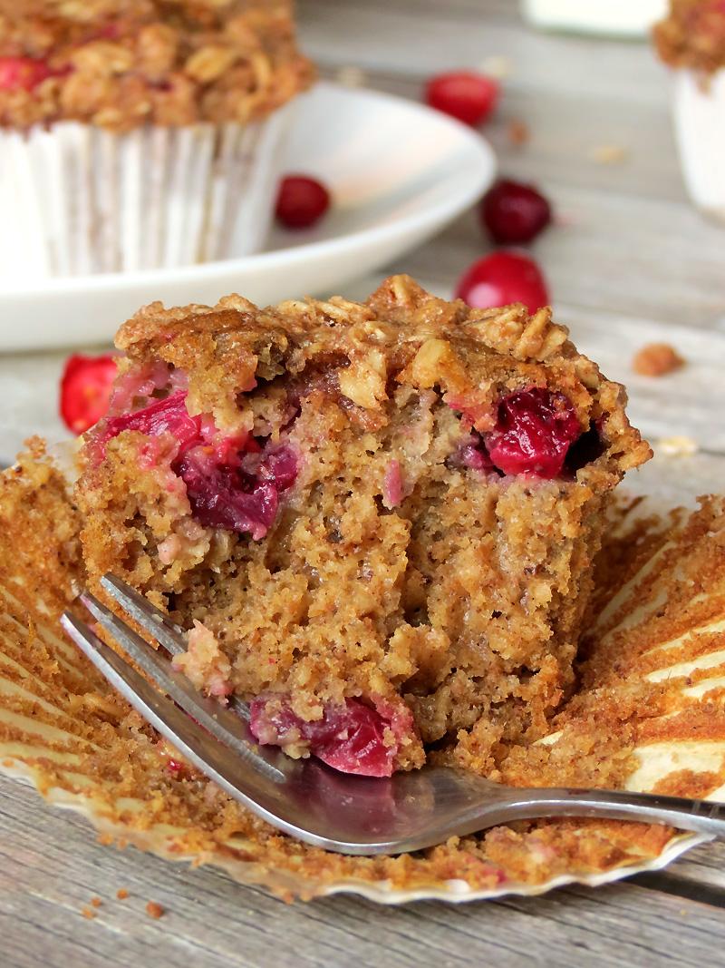 Cranberry Pumpkin Oatmeal Muffins | YummyAddiction.com