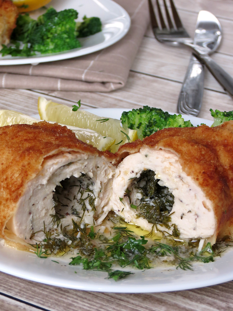 Delicious Oven-Baked Chicken Kiev | YummyAddiction.com